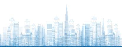 Konturu Dubaj miasta drapacze chmur w błękitnym kolorze Fotografia Stock