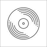 Konturu dyska Winylowa ikona Logo dla sieci lub app Konturu styl Dyskoteka muzyczny winyl odizolowywający na białym tle royalty ilustracja