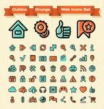 Konturu Grunge sieci ikony Ustawiać royalty ilustracja