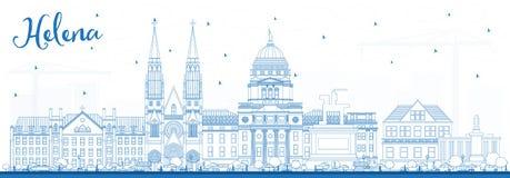 Konturu Helena Montana miasta linia horyzontu z Błękitnymi budynkami ilustracji