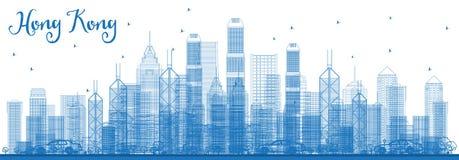 Konturu Hong Kong Porcelanowa linia horyzontu z Błękitnymi budynkami ilustracji