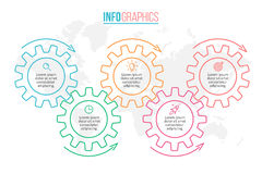 Konturu infographics Linia czasu z 5 krokami, przekładnie, cogwheels royalty ilustracja