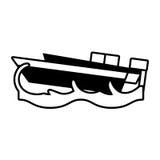Konturu jachtu łodzi plaży morza fala Zdjęcia Royalty Free