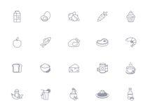Konturu jedzenia ikony Obrazy Stock