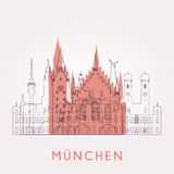 Konturu Monachium rocznika linia horyzontu Fotografia Stock
