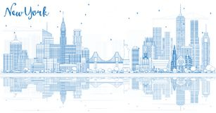 Konturu Nowy Jork usa miasta linia horyzontu z Błękitnymi budynkami i Reflec Obraz Stock