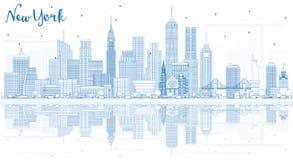 Konturu Nowy Jork usa miasta linia horyzontu z Błękitnymi budynkami i Reflec Obrazy Stock