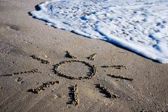 konturu piaska słońce mokry Zdjęcie Stock