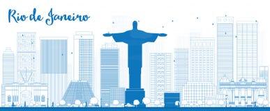 Konturu Rio De Janeiro linia horyzontu z błękitnymi budynkami Obrazy Stock