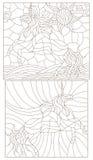 Konturu set ilustracje w witrażu stylu z abstrakcjonistycznymi jednorożec Obrazy Royalty Free