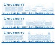 Konturu set kampus nauki sztandary Wektorowy illustrat Zdjęcia Royalty Free