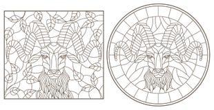 Konturu set z ilustracjami witraż Windows z RAM ` s głowy, round i prostokątnego wizerunkiem, zmrok kontury na whit royalty ilustracja