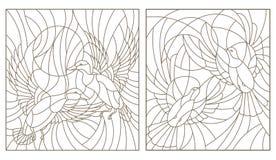 Konturu set z ilustracjami witraży ptaków para gołębie i kaczki w niebie i słońcu royalty ilustracja