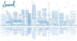Konturu Seul Korea linia horyzontu z Błękitnymi odbiciami i budynkami ilustracji