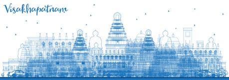 Konturu Visakhapatnam India linia horyzontu z Błękitnymi budynkami Obrazy Royalty Free
