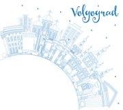Konturu Volgograd Rosja miasta linia horyzontu z Błękitnymi budynkami i Co Zdjęcie Stock