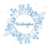 Konturu washington dc linia horyzontu z kopia Astronautycznymi i Błękitnymi budynkami ilustracja wektor