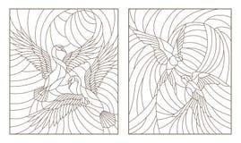 Konturuppsättning med illustrationer av målat glassfåglar, par av svanar och ett par av svalor i himmel på bakgrundssolen royaltyfri bild