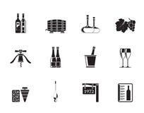 Konturvin- och drinksymboler Arkivfoto