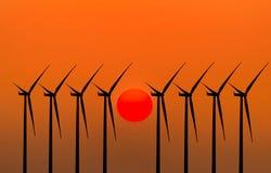 Konturvindturbiner som frambringar elektricitet Arkivbild