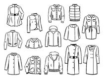 Kontury jesień deszczowowie i kurtki Zdjęcie Stock