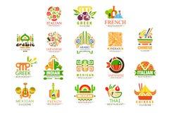 Kontynentalny kuchnia loga projekta set, w?oszczyzna, grek, francuz, japo?czyk, Meksyka?ski autentyczny tradycyjny kontynentalny  ilustracja wektor
