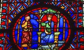 Konung Advisor Stained Glass Sainte Chapelle Paris France Arkivfoton