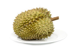Konung av frukter, durian på vit bakgrund arkivfoton
