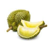 Konung av frukter, durian som isoleras på vit bakgrund royaltyfria foton