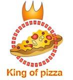 Konung av pizzalogodesignen arkivfoton
