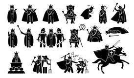 Konung Characters i Pictogramuppsättning vektor illustrationer