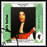 Konung Charles II, de Stuart konungarna, 25th årsdag av kröningen av drottningen Elizabeth II, Staffa Skottland serie, circa 1978 royaltyfria foton
