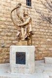 Konung David Statue i Jerusalem royaltyfria foton