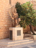 Konung David Statue på Mount Zion, Jerusalem Royaltyfri Foto
