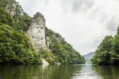 Konung Decebalus, på flodDonauen Royaltyfri Bild