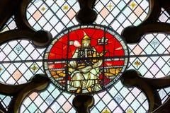 Konung Edward 1 äldre målat glass Westminster Abbey London England Arkivbilder
