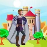 Konung framme av hans slott stock illustrationer