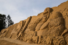 Konung Kong Sand Sculpture Arkivfoton
