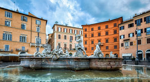 Konung Neptune Statue på springbrunnen på piazza Navona Royaltyfri Foto