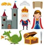 Konung och drottning på slotten stock illustrationer