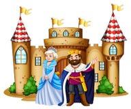 Konung och drottning på slotten royaltyfri illustrationer