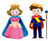 Konung och drottning på vit bakgrund stock illustrationer