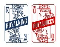 Konung och drottning som spelar kortet royaltyfri illustrationer