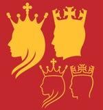Konung- och drottninghuvud royaltyfri illustrationer