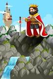 Konung och svärd i stenen vektor illustrationer