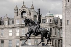Konung Robert den Bruce statyn Aberdeen Skottland, UK arkivfoton