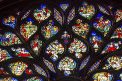 Konung Rose Window Stained Glass Sainte Chapelle Paris France Arkivfoto