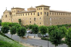 Konung slott i Olite i Navarra, Spanien Arkivbilder