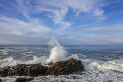 Konung Tides Wave Action, Kalifornien kust fotografering för bildbyråer