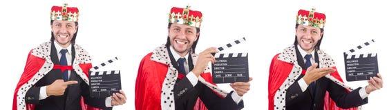 Konungaffärsmannen med filmbrädet som isoleras på vit Royaltyfri Foto